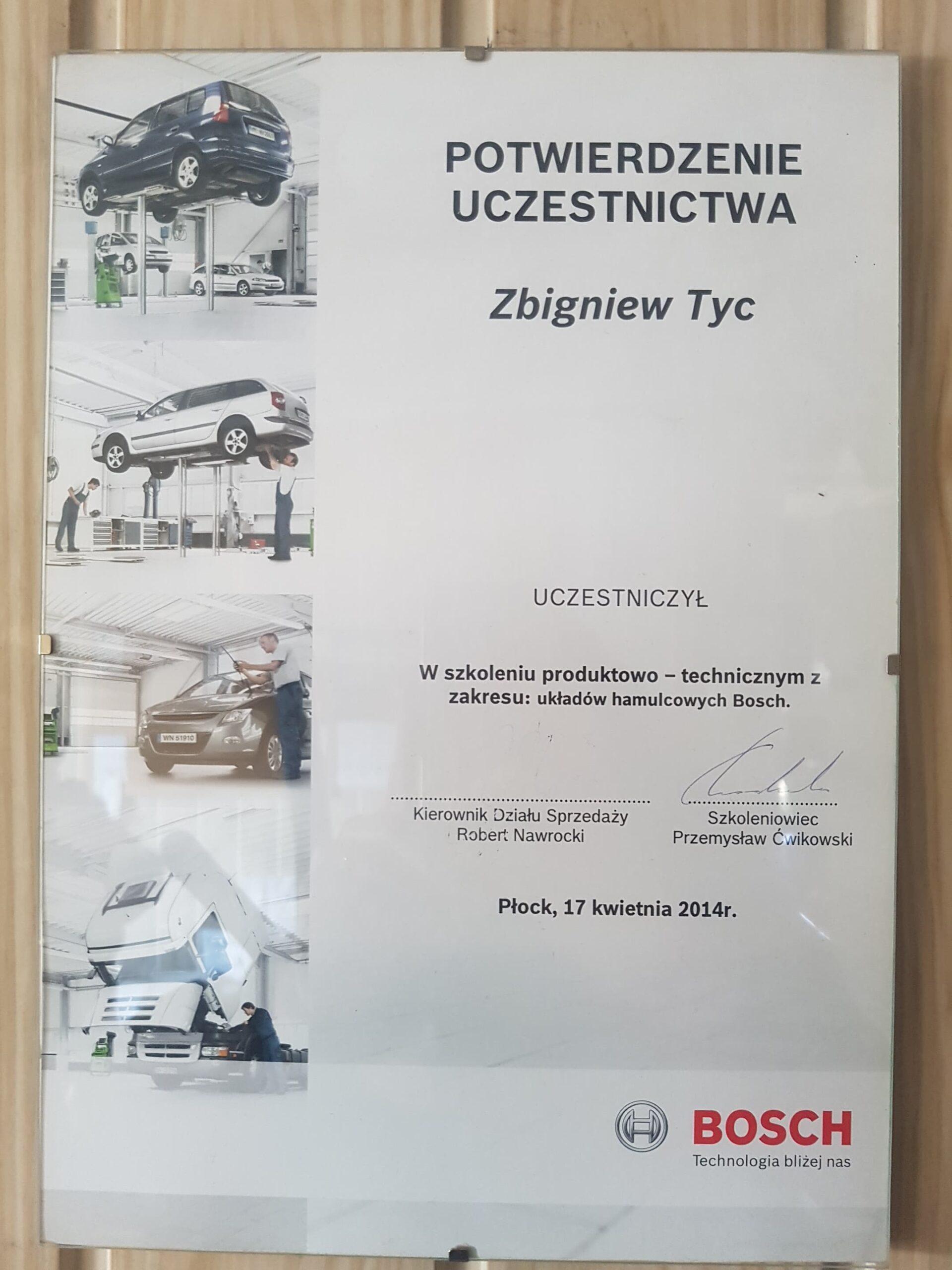 Certyfikat Bosch Układ hamulcowy Elektromechanika Tyc Płock