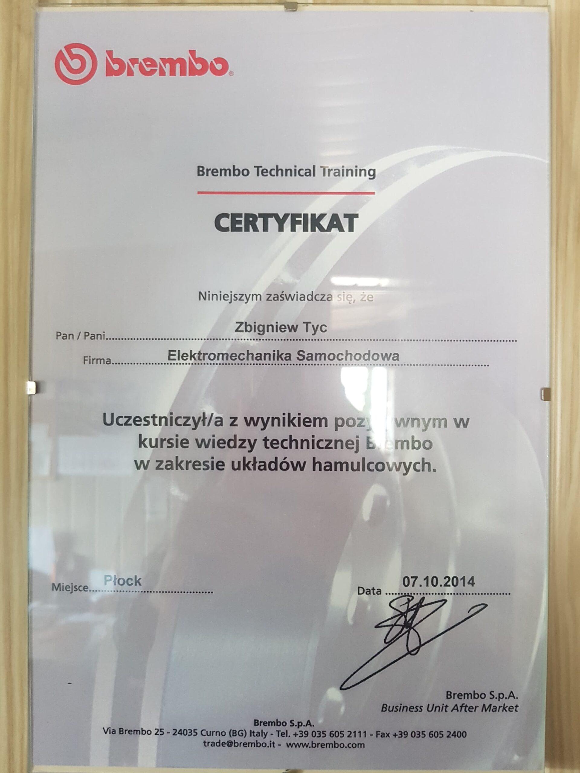 Certyfikat Brembo uklad hamulcowy Elektromechanika Tyc Płock