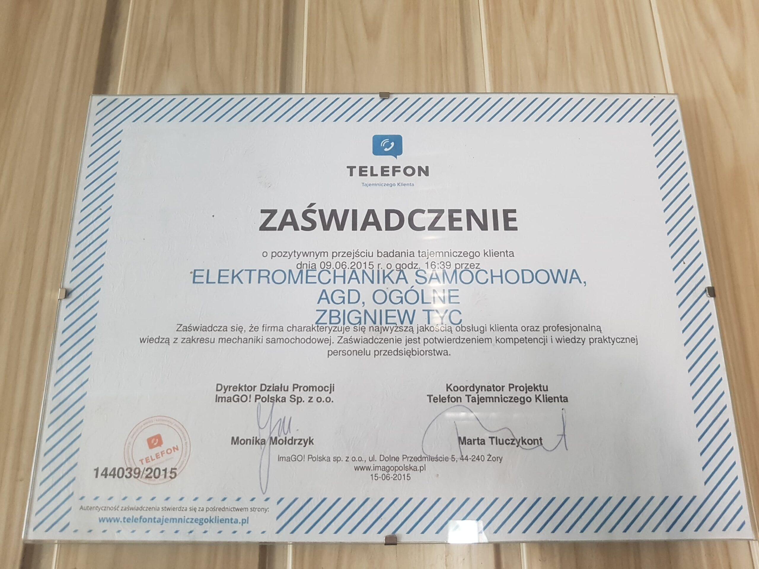 Certyfikat Tajemniczy Klient Elektromechanika Tyc Płock