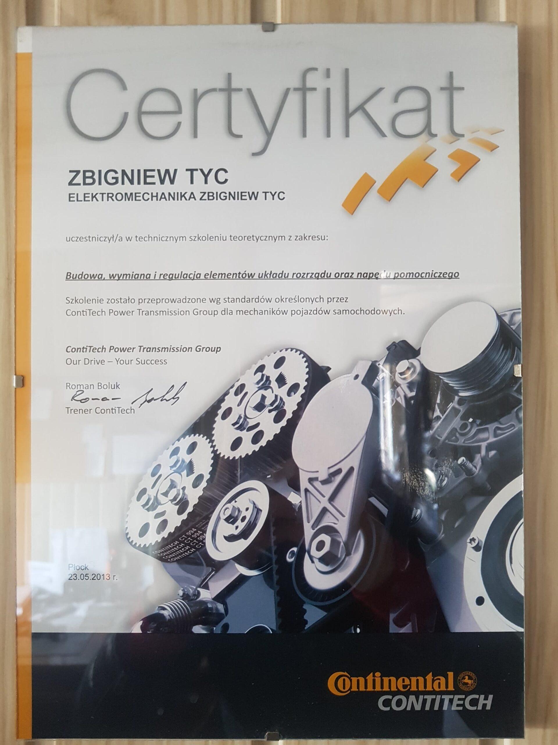 Certyfikat Continental Układ rozrządu Elektromechanika Tyc Płock