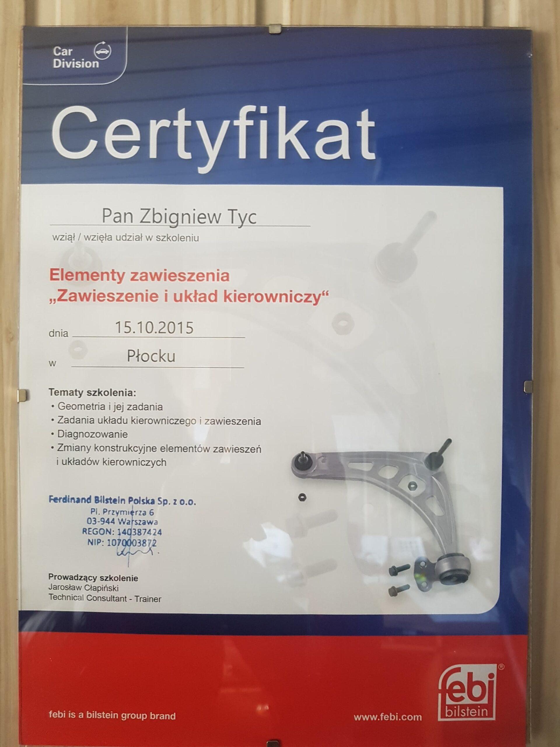 Certyfikat Febi Zawieszenie i układ kierowniczy Elektromechanika Płock