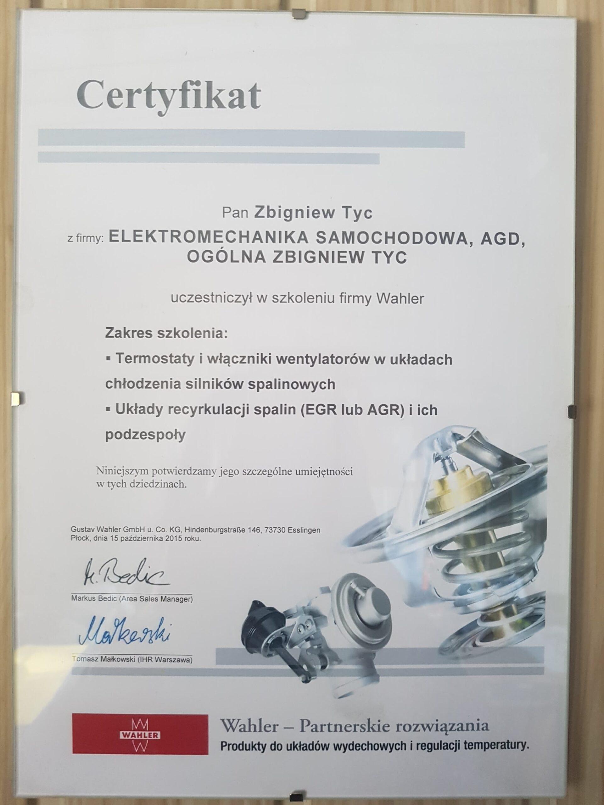 Certyfikat Układ Wydechowy Elektomechanika Tyc Płock