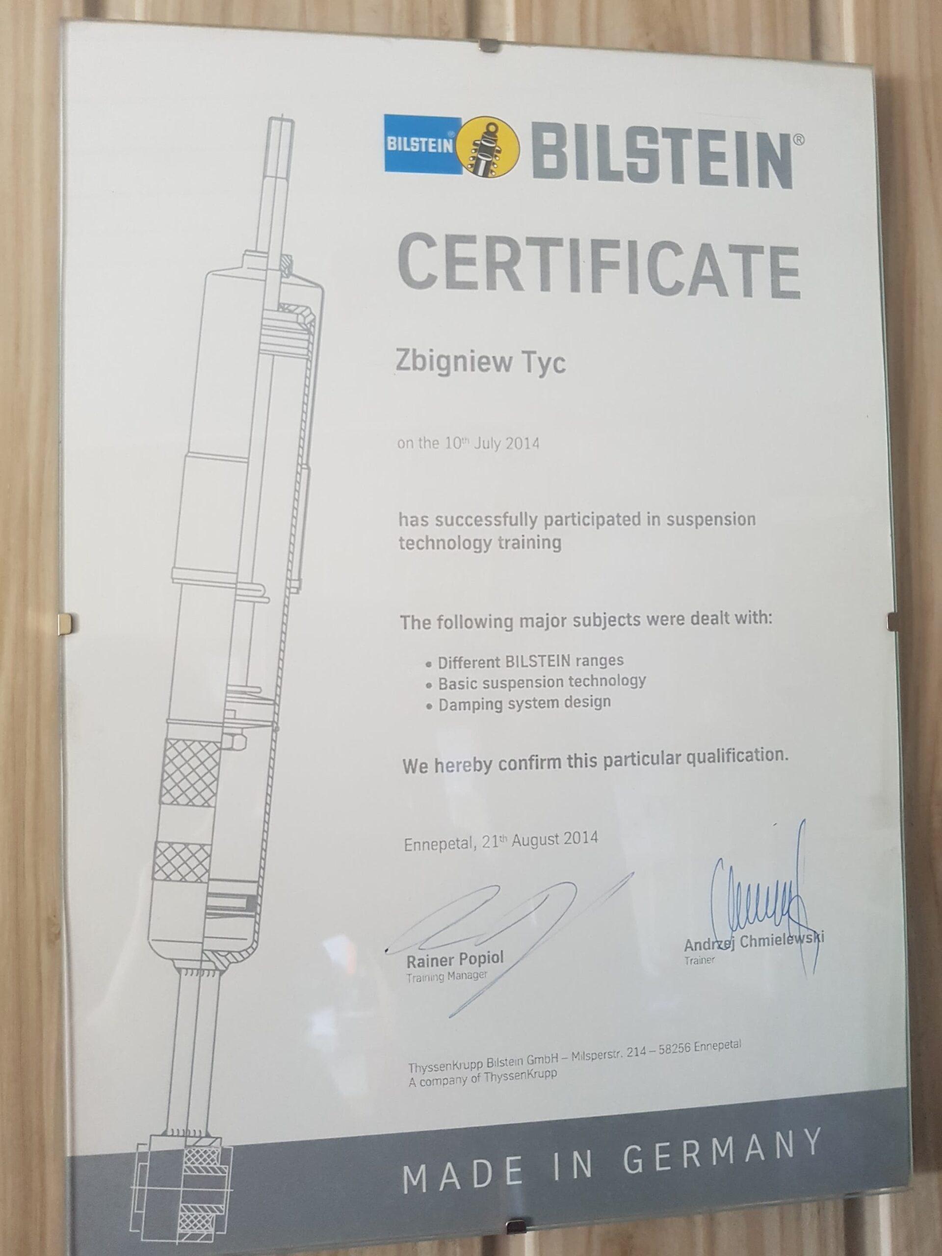 Certyfikat Bilstein Uklad Zawieszenia Elektromechanika Tyc Płock